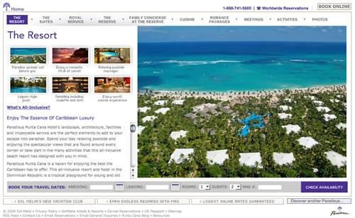 Paradisus Punta Cana Hotel Resort Website Design