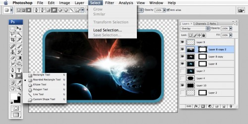 Here is the canvas with tools like layers, Selections , and Rounded Rectangle Shown.