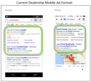 How dealership ads showed up within mobile searches prior to Dealer Ads