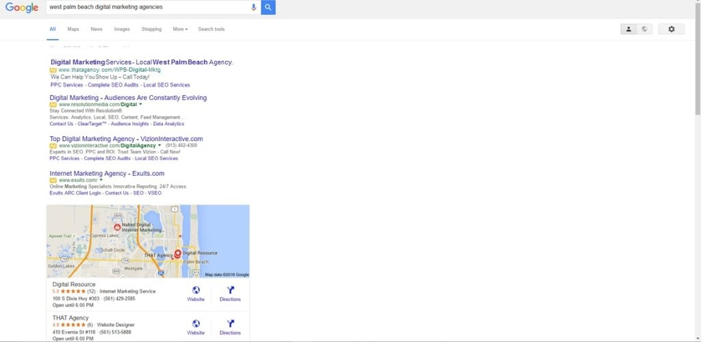 New SERPs for West Palm Beach Digital Marketing | THATAgency