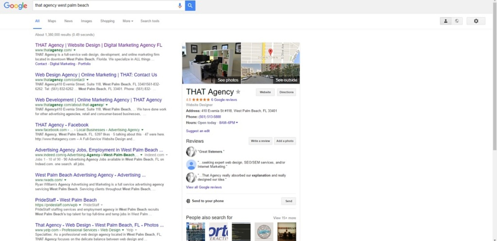 New Knowledge Graph SERPs | THAT Agency WPB