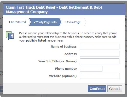 How to claim a Facebook Page step 3