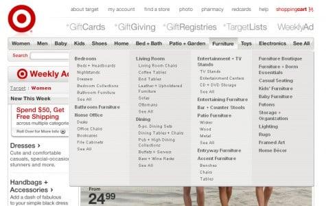 Vertical mega drop-down from Target.com