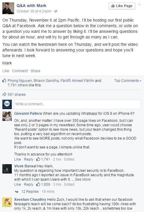 Q andA with Mark Zuckerberg
