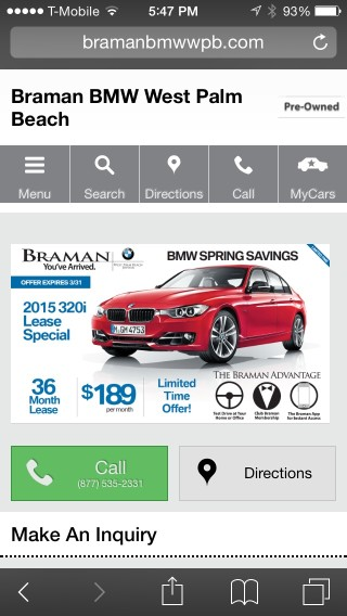 BMW 320i Specials Page - Mobile Version