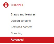 YouTube Channel Drop Down Menu