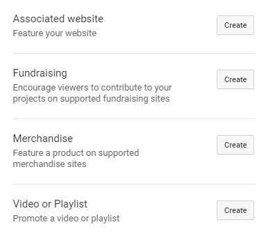 Options Available When Adding a Card to YouTube Videos