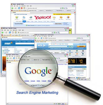 Magnifying Glass to Google, MSN, Yahoo, AOL Search Engines | SEM Marketing