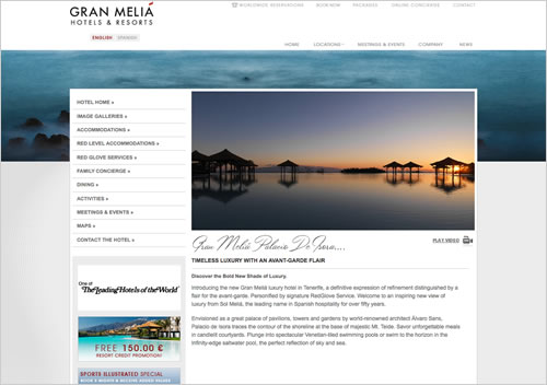 Website design of Gran Melia Palacio de Isora