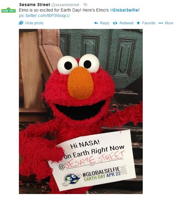 Elmo's selfie - love the location.