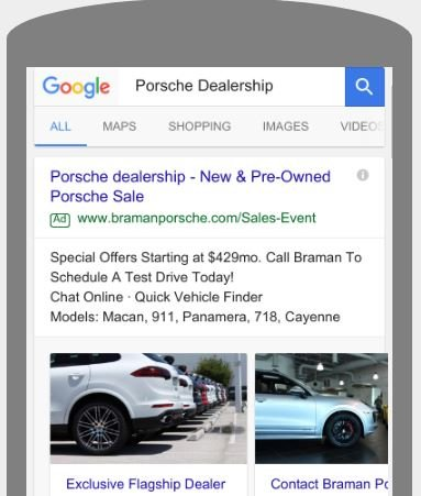 Car Dealership Visual Sitelinks Example