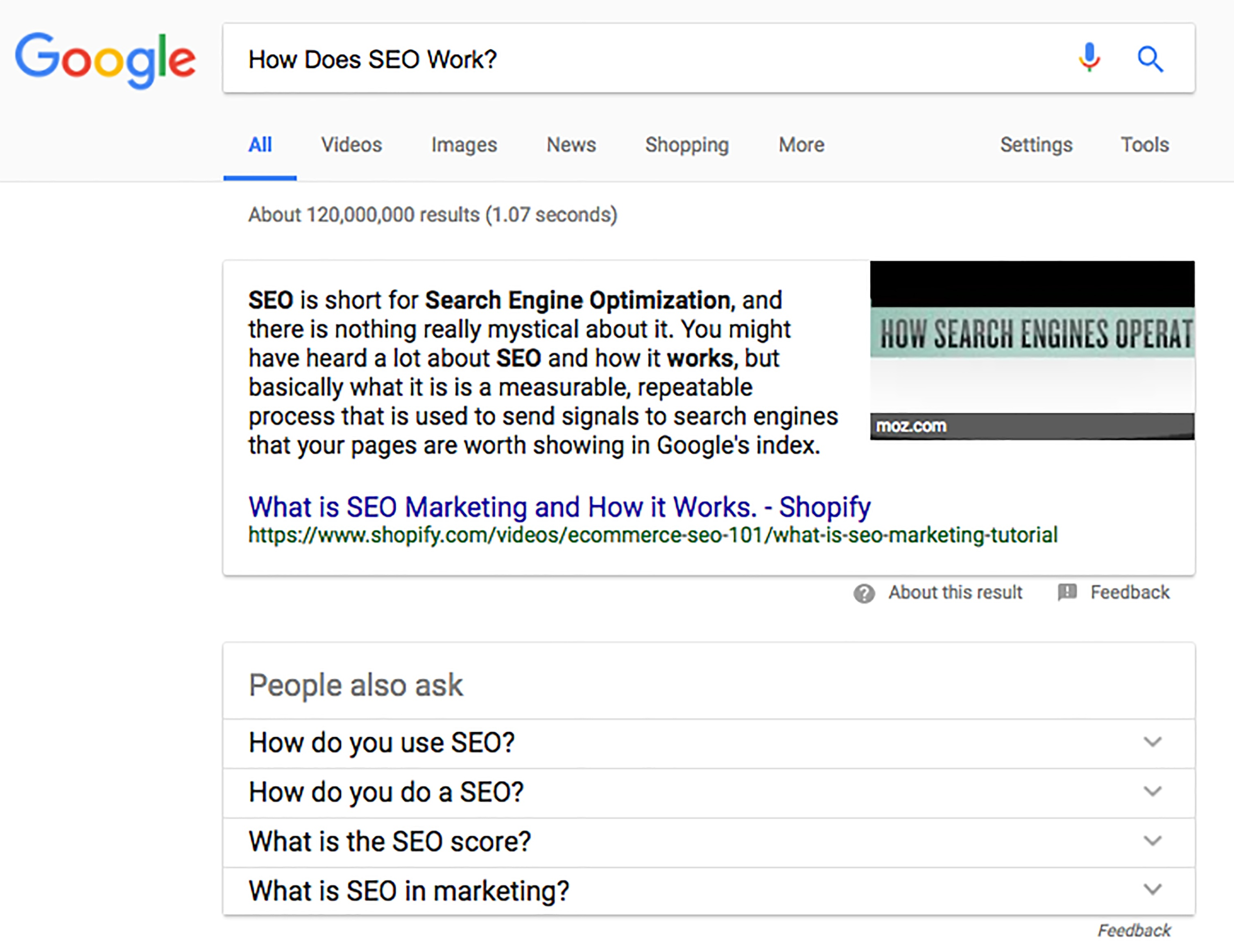 Featured Snippet Example | 2018 Search Engine Optimization in 2018