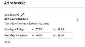 PPC Ad Schedule Example