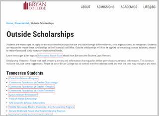 University Scholarship Backlinks Example