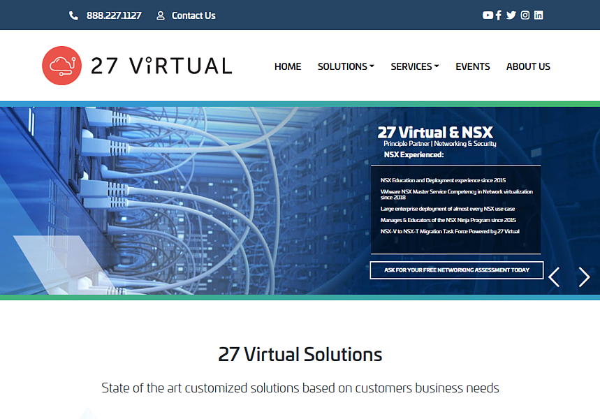 New tech company website design for 27 Virtual, created and launched by THAT Agency - one of the best Florida web design companies