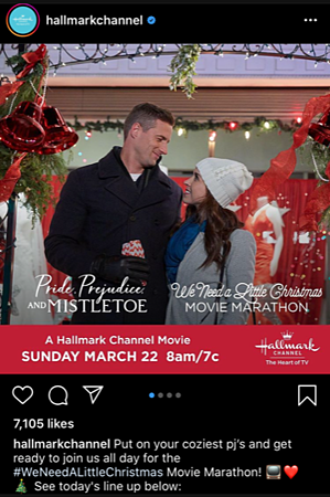 An Instagram post showing how the Hallmark Channel created an emotional connection
