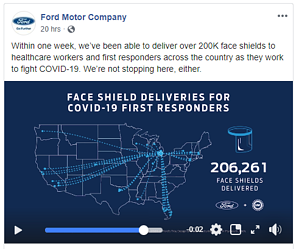 A Facebook post demonstrating how Ford Motor Company employed a preservation social standpoint
