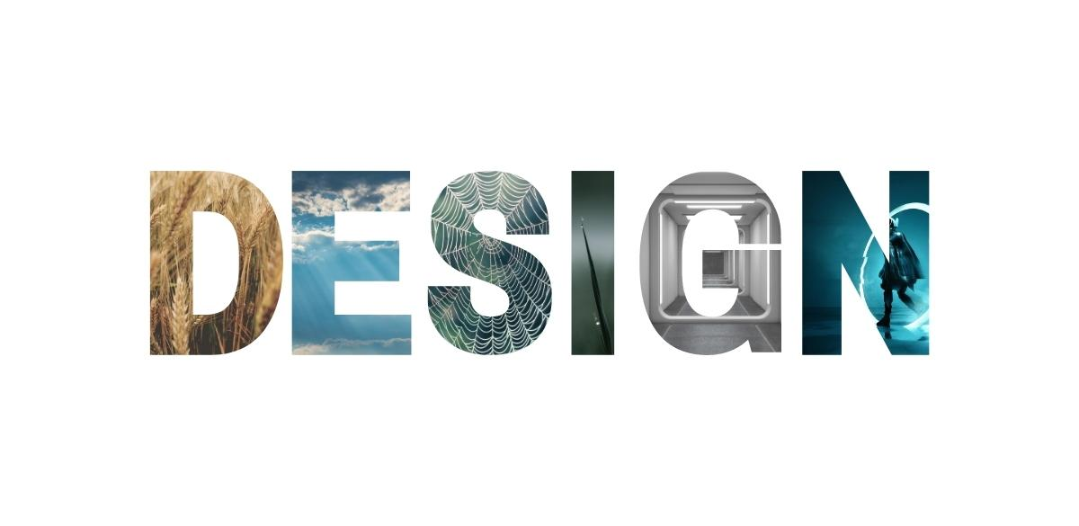 "The word ""design"" with different natural and futuristic elements within the letters"