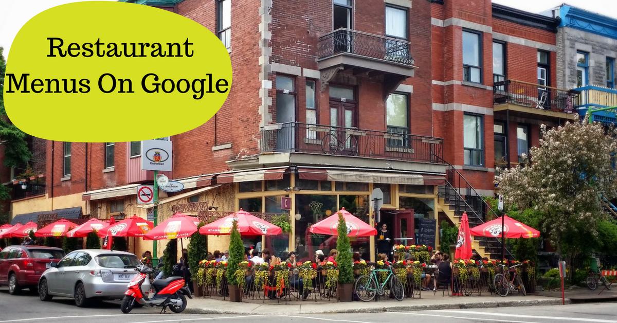 Local Restaurant Menus on Google Search Listings