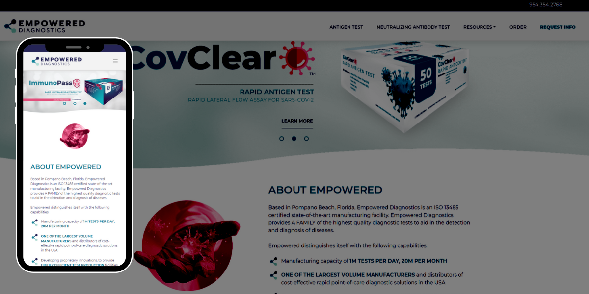 The new Empowered Diagnostics website